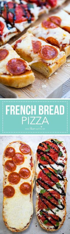 Homemade Garlic French Bread Pizza - I Heart Nap Time | so easy and delicious! Easy to customize with all your favorite toppings! A simple recipe that kids and adults will love.