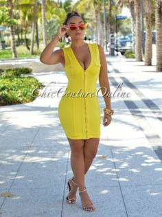 Chic Couture Online - Yamie Yellow Zipper Front Mini Dress.(http://www.chiccoutureonline.com/yamie-yellow-zipper-front-mini-dress/)