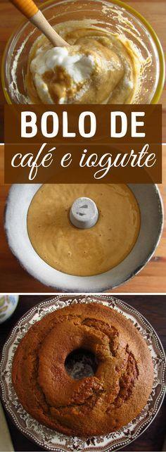 Bolo de café e iogurte | Food From Portugal. Se gosta de café e de bolos, esta receita é perfeita para si! A mistura do café com o iogurte é simplesmente deliciosa. Prepare este bolo de café e iogurte numa tarde de Domingo para a sua família e amigos! Bom apetite!!! #receita #bolo #café #iogurte
