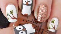 OWL~  TOOLS YOU NEED~ -Dark gray polish -White polish -Black polish -Medium brown polish -Copper glitter polish -Medium green polish -Dotting tools -Nail art brushes -Base coat -Top coat  ALL DONE~GOOD LUCK~  :D