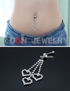 cute dangly hearts belly button ring