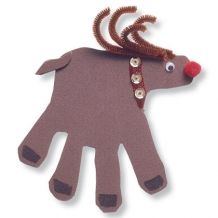 Christmas Craft: Rudolph the Red-Nosed Handprint - my five-year old gave these as gifts this year.