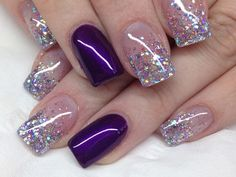 25 Glamorous Glitter Nail Arts for Christmas Everyone knows that glitter nail art is a constant favorite. Almost every girl and woman love to have glitter on their nails. Glitter can give an extra edge to your nail and send sparkles in dull mome Nail Design Glitter, Purple Glitter Nails, Purple Nail Art, Purple Nail Designs, Glitter Nail Art, Nail Art Designs, Nails Design, Glitter Makeup, Purple Nails With Design