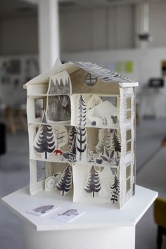 by Emily Watkins #paper #house #forest #watercolor #gray #doll #art #diorama