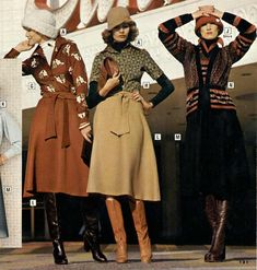 1975/76 Seventies Fashion, 70s Fashion, Fashion History, Winter Fashion, Vintage Fashion, Mode Vintage, Vintage Girls, Classy Outfits, Vintage Outfits