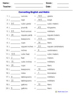 math worksheet : english  metric conversion table worksheets  projects to try  : Maths And English Worksheets