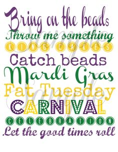 INSTANT DOWNLOAD Mardi Gras Subway Art - Wall Art Print 8 X 10 PRINTABLE Download on Etsy, $2.99