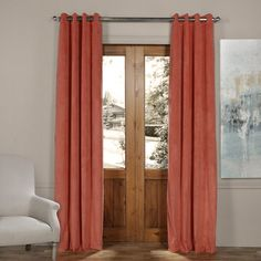 Exclusive Fabrics and Furnishings Signature Desert Coral Orange Grommet Blackout Velvet Curtain - 50 in. W x 96 in. L (1 Panel)