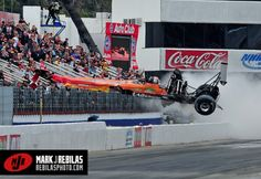 Top Fuel dragster goes airborne