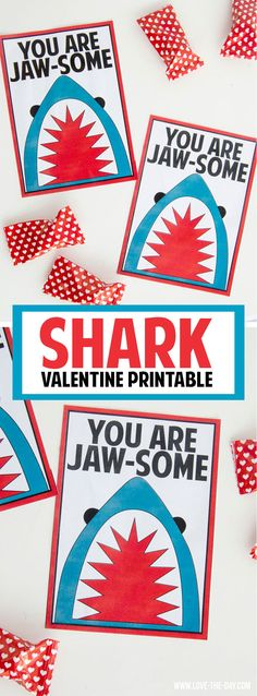 Shark Valentine Printable by Lindi Haws of Love The Day