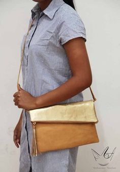 31f5e005f833 Gold   Camel Twotone Leather Crossbody Bag by MAHARANIatelier Leather  Tassel