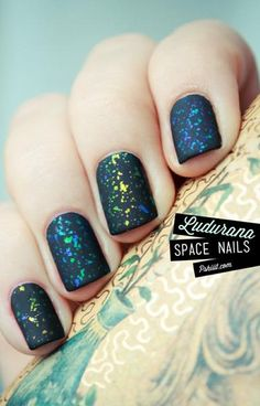 neon space nails