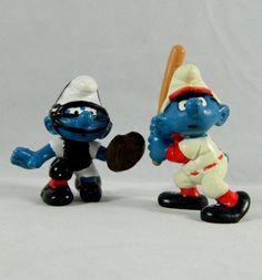 Vtg Peyo Smurf Baseball Player Figures Schleich Batter Catcher Smurfs 1980 & '81
