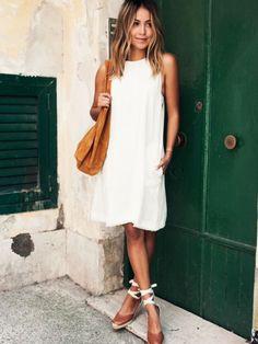 f7c1f0fd422 Cream- ElleSpain White Dress Casual
