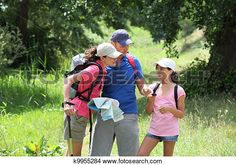 Stock Photo of Family rambling in the countryside k9955284 - Search Stock…