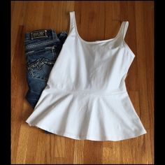 Express Peplum Black Zip Back Top. Never worn! Super cute. Last photo is not mine, used to show how it looks on. Express Tops