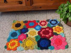 Tapete de croche floral colorido  0.62 x 0.44cm -2011098