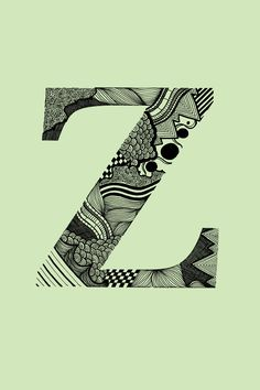 The sharpness of the 'z,' the starkness of the background both contrast with the zany design inside. I love it.