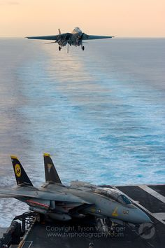 Carrier Strike Group Two conducts sea trials in the Atlantic prior to deployment - Tomcat Final Deployment Tyson V. Grumman Aircraft, Navy Aircraft, Airplane Fighter, Fighter Aircraft, Military Jets, Military Aircraft, Air Fighter, Fighter Jets, Tomcat F14