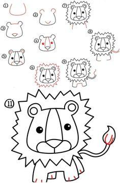 apprendre à dessiner une tête de lion amusante à partir de chiffres, nombres et lettres