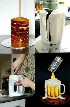 Beer mug cake tutorial - Cake Decorating Simple Ideen Gravity Defying Cake, Gravity Cake, Cake Decorating Techniques, Cake Decorating Tutorials, Cupcakes Decorating, Fondant Cakes, Cupcake Cakes, Beer Mug Cake, Beer Cakes