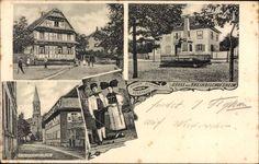Ansichtskarte / Postkarte Rheinbischofsheim Rheinau, Denkmal, Trachten, Kirche, Wohnhaus