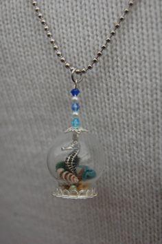 Seahorse Bubble Necklace, Under the Sea Snow Globe Necklace, Glass Bubble, Snow Globe, Glass Globe Necklace, Seahorse Shell Necklace
