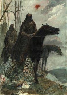 lord of the rings artwork alan lee - the ringwraiths Dark Fantasy, Fantasy World, Fantasy Art, Alan Lee, Jrr Tolkien, Tolkien Tattoo, Legolas, Gandalf, Art And Illustration