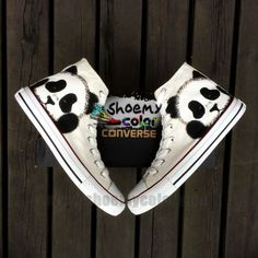 Custom Pure Hand Painted Lovely Panda White High Top Converse Canvas Sneaker Fashion Converse Shoes for Men Women Excellent Present