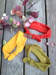 Fall Collection, top knot headband set!  Turban headbands, baby turbans, kids head wraps. Top knot with bow headbands. on Etsy, $16.00