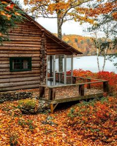 Image may contain: tree, plant, outdoor and nature - Herbststimmung 5 - Camping Cabin Homes, Log Homes, Camping Sauvage, Haus Am See, Cabin In The Woods, Cabin On The Lake, Autumn Cozy, Autumn Fall, Autumn Leaves