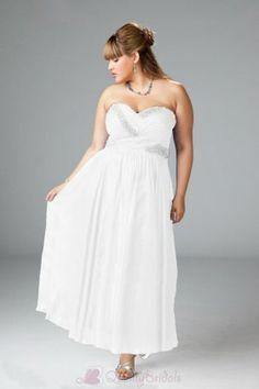 Fabulous Empire Sweetheart Ankle-Length Beaded Plus Size Wedding DressesW1784  $197.99