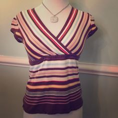Old Navy multicolored shirt. Love the colors in this shirt!  Worn gently but no longer fits since having the baby.  Easily a shirt you could dress up or down. Old Navy Tops