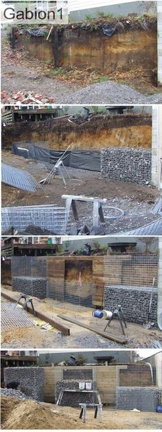 gabion and timber retaining wall http://www.gabion1.com