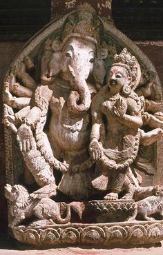 Shri Ganesh and who? Ganesha Painting, Ganesha Art, Sri Ganesh, Lord Ganesha, Tantra, Shri Ganesh Images, Asian Sculptures, Hindu Statues, Ganesh Statue