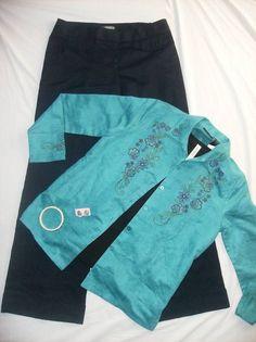 Ladies Size 8 Winter Outfit-5 pc Ann TaylorPants/black top/blue shirt/new bracelet & earrings #sale on eBay