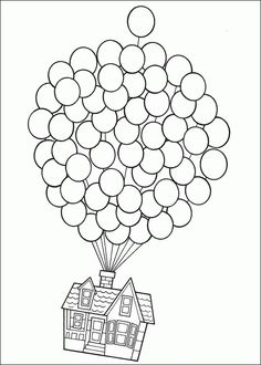 Up-Use this pic but let kids use fingerprints in balloons for color and real string. Make your world more colorful with free printable coloring pages from italks. Our free coloring pages for adults and kids. Coloring Book Pages, Printable Coloring Pages, Free Coloring, Coloring Pages For Kids, Colouring In, Coloring Pictures For Kids, Mandala Coloring, Up House Drawing, Drawing Drawing