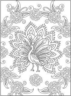 Embroidery pattern idea (Creative Haven Mehndi Designs Coloring Book: Traditional Henna Body Art) - great idea - henna, mandala, other coloring books Free Adult Coloring Pages, Coloring Book Pages, Printable Coloring Pages, Coloring Sheets, Free Coloring, Kids Colouring, Peacock Coloring Pages, Abstract Coloring Pages, Henna Body Art