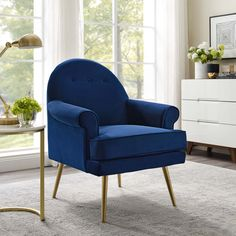 Blue Armchair, Velvet Armchair, Navy Living Rooms, Gold Sofa, Contemporary Chairs, Tufted Sofa, Diy Chair, Mid Century Modern Design, Architecture