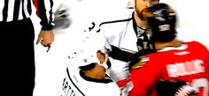 Bollig (and his mouthguard) after getting pushed. Going to miss him.