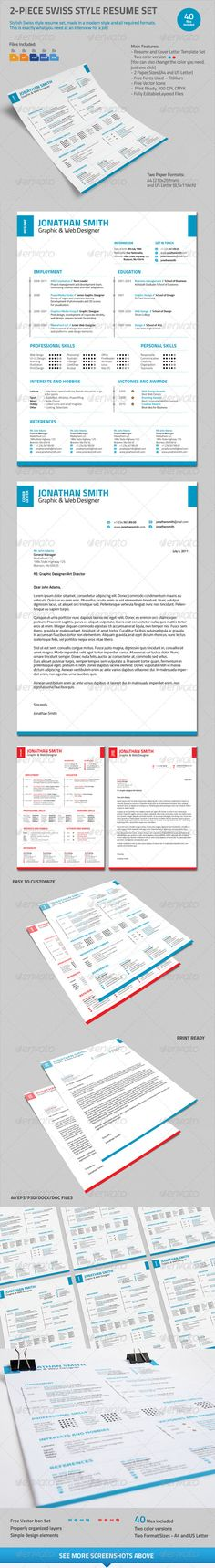 simple style cv resumé with cover letter fonts print templates