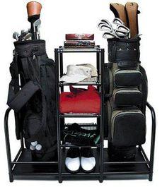 Two Golf Bag Organizer Sports Gear Storage Club Shoes Putter Ball Rack Tees Kit