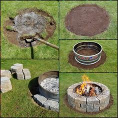 DIY Stone Paver Fire Pit.  $39 metal fire ring from Tractor Supply, and 36 flagstone pavers from Lowes at $2.38 a piece.  This fire pit will take only a few hours to create and no messing with mortar or cement.      #firepit #diy #diyfirepit #easy firepit #firepitideas