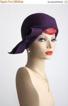 ON SALE COUTURE Vintage Hat . Bucket Cloche . Purple by VeraVague