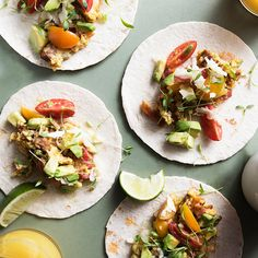 Breakfast Tacos - Tasting Table.  Chorizo, bacon and eggs come together for the breakfast tacos of champions.