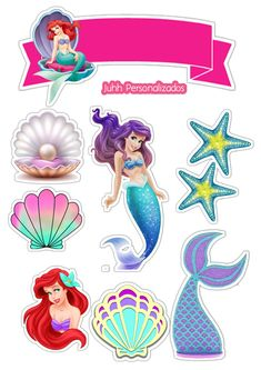 Mermaid Theme Birthday, Little Mermaid Birthday, Little Mermaid Cakes, Ariel The Little Mermaid, Happy Birthday Printable, Girly Drawings, Animal Crafts For Kids, Baby Mickey, Diy Party Decorations