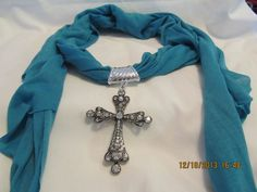 New Blue Jewelry Scarf Necklace Silver Cross Rhinestone Pendant Charm Tassel 24 #Unbranded