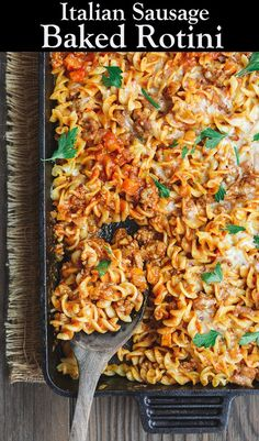 Simple, Hearty Baked Rotini Casserole. The seceret is in the chunky, flavor-packed sauce with Italian sausage and bell peppers. #pasta #rotini #italianrecipes #italianfood #casserole #onepan #italiansausage