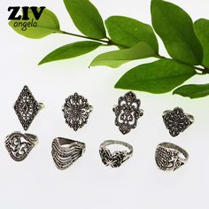 8PCS Bohemia Vintage Carving Butterfly Antique Silver Plated Ring Set for Women Boho Ethnic Flower Rings Women Jewelry