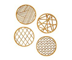 """<p>Set of 4 """"Geometric"""" Coasters, made from 3-ply Bamboo. Measure approximately 3.6 x 3.6 inches, 1/4 inch thick. All Light & Paper lasercut designs are created from original hand-cut papercuttings.</p>"""